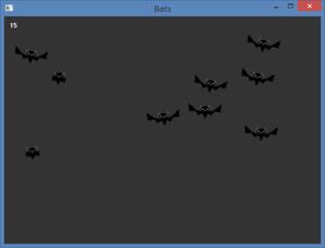 図151 コウモリのアニメーション(IDE から実行)